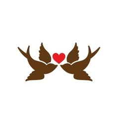 Flat web icon on white background birds heart vector