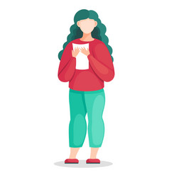 Flat young woman in red vector