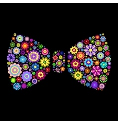 Floral bow tie on dlack background vector