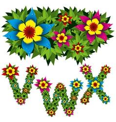 Flowers alphabet 08 vector