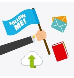 Follow me social and business theme design vector