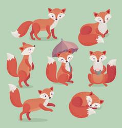 fox set hand drawn style vector image