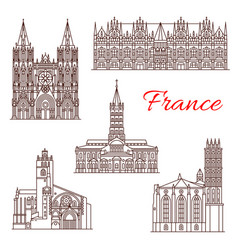 french travel landmark icon of architecture sights vector image