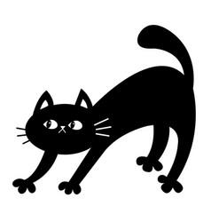 Frightened cat arch back scared kitten black vector
