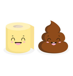 funny poop and toilet paper roll isoleted on white vector image