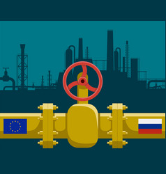 gas pipeline with valve vector image