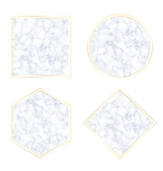 geometric blue cloud marble texture with golden vector image