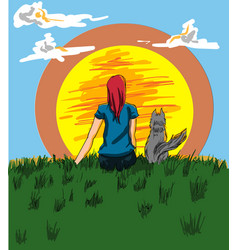 girl and a dog looking at the sunset vector image