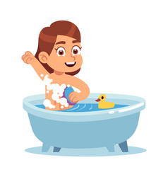 Girl in bathroom child daily routine kid vector