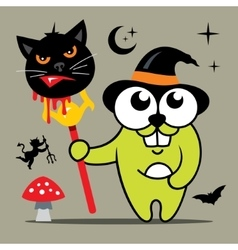 Halloween Crazy Rabbit in witch hat Cartoon vector