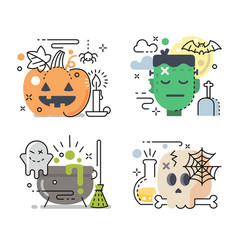 halloween icon set in linear color style vector image