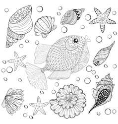 hand drawn zentangle fish with sea shells vector image