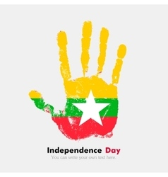 Handprint with the flag of myanmar in grunge style vector