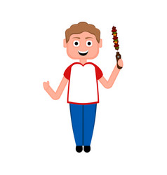 happy boy with a skewer vector image