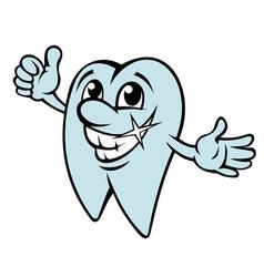 Happy cartoon tooth in clean condition vector image