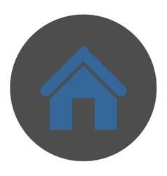 Home flat cobalt and gray colors round button vector image