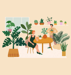 home garden woman plant greenery relaxing in vector image