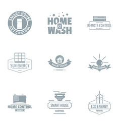 Home wash logo set simple style vector