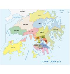 hong kong administrative division map vector image