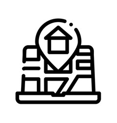 House marker location on map thin line icon vector