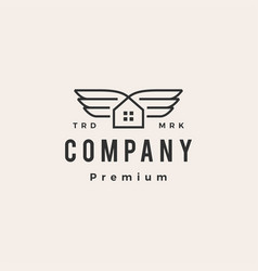house wing hipster vintage logo icon vector image