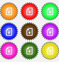 Import download file icon sign A set of nine vector