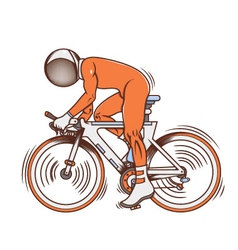 Isolated cartoon astronaut futuristic bicycle race vector