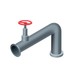 isometric pipe water tube or pipeline with red vector image
