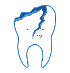Kawaii tooth with root and broken in blue vector