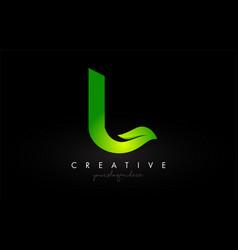 L leaf letter logo icon design in green colors vector
