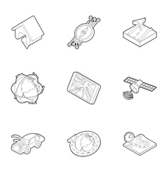 Location icons set outline style vector