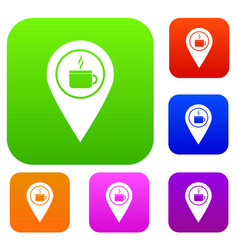 map pin location with tea or coffee cup sign set vector image