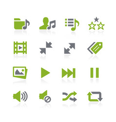 Media player icons natura series vector