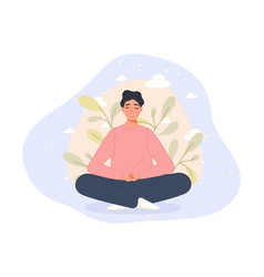 men sitting on floor and meditating in lotus pose vector image