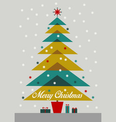 merry christmas colorful retro tree with gifts vector image