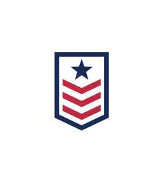 Military rank army icon on white vector