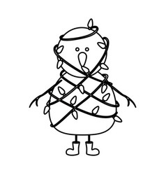 Monochrome contour of snowman with boots and vector