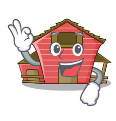 okay a red barn house character cartoon vector image