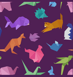 origami style different paper animals geometric vector image
