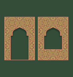 Patterned arched frames in form asian door vector