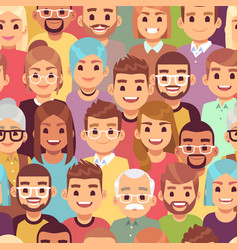people seamless pattern multi ethnic men and vector image