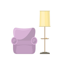 pink armchair and yellow floor lamp vector image