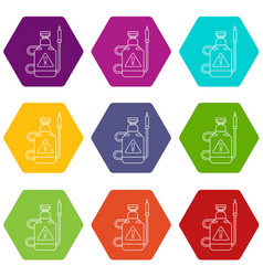 poison pest control icons set 9 vector image