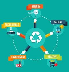 Recycle hands diagram flat concept vector