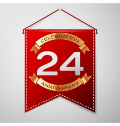 Red pennant with inscription Twenty four Years vector