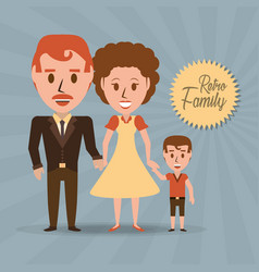 retro family parents with their son vector image