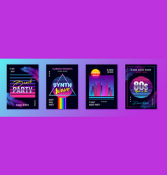 Retrowave party posters set vector