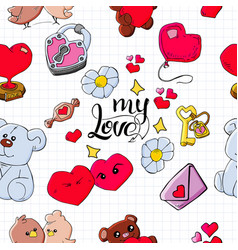 romantic seamless pattern with hand drawn elements vector image