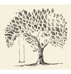 Romantic tree swing hand drawn sketch vector