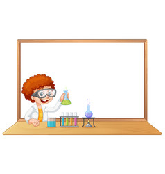 Science pupil in lab with copyspace vector